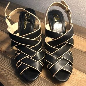 "Cole Haan 4"" Black & Tan Strappy Heels Size 7 1/2"